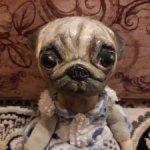 Девчушка-мопс. Авторская игрушка