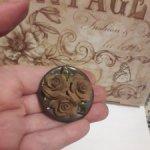 Винтажная керамическая брошь Чайная роза