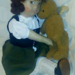 Редкая антикварная французская салонная будуарная кукла, тарлатан хлопок лицо, мохер волосы,50см