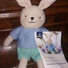НОВЫЙ Винтажный зайка / заяц вязаный 38 см strick hase bunny Германия tchibo Hamburg