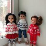 Норвежские свитера и комплекты с оленями на разных кукол. Обновление!