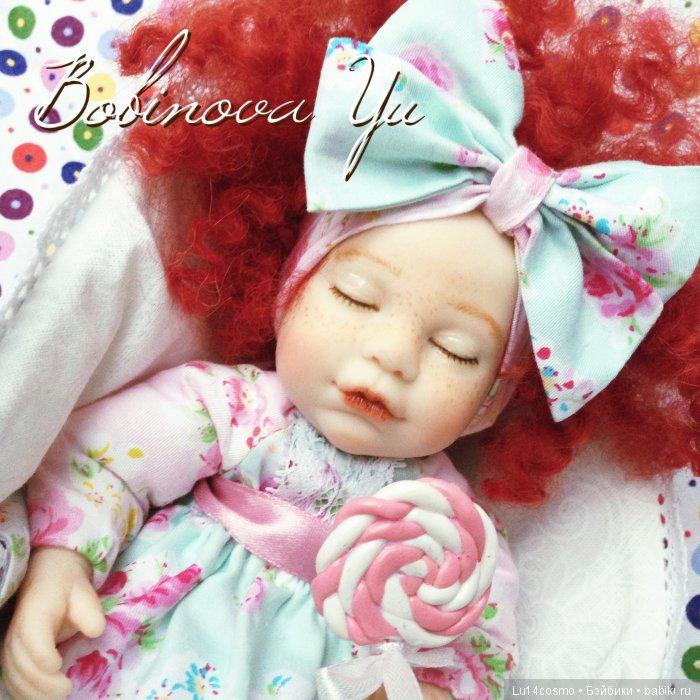 Спящая малышка Соня! 27 см. Голова и ручки- полимерная глина, тело- текстиль. Внутри проволочный каркас)