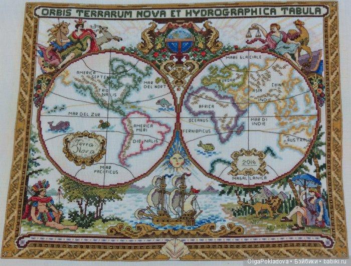 Вышитая картина Старая карта мира