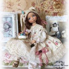 Пасхальная малышка, коллекционная текстильная кукла