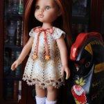 Вязаное ажурное платье и туфельки для кукол Paola Reina
