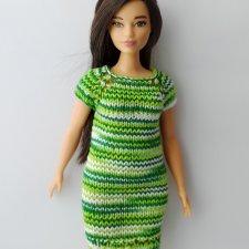 Описание платья для Барби пышки спицами
