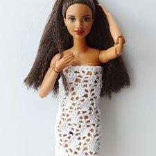 МК ажурного платья для Барби крючком