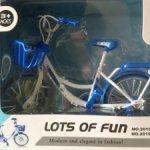 Синий металлический реалистичный велосипед для кукол