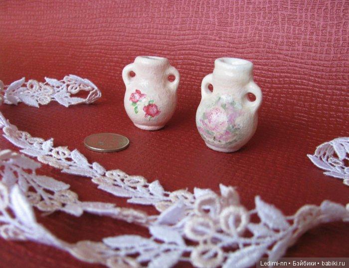 Миниатюрные вазочки в кукольный дом