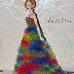 радужное платье для кукол fashion royalty