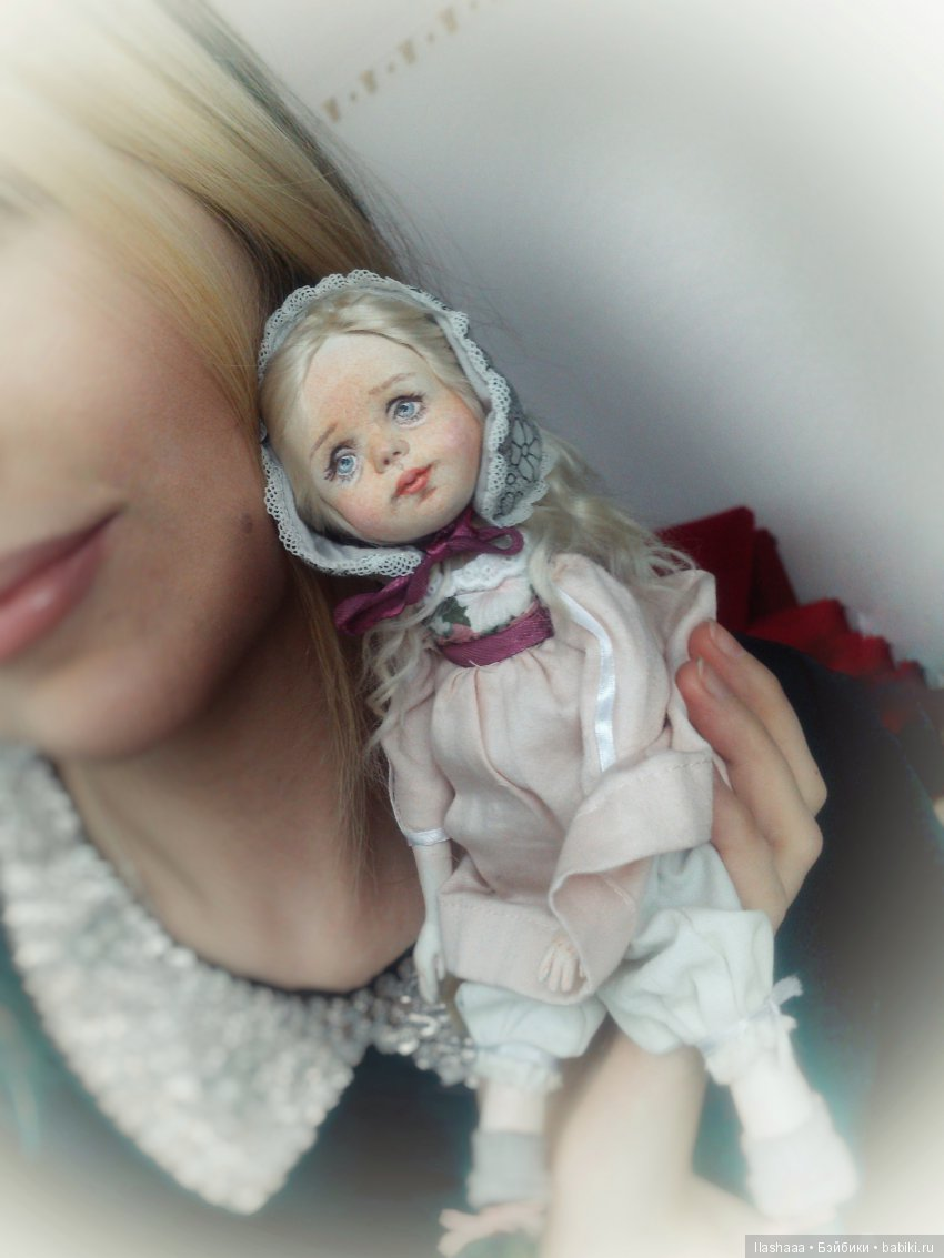 Авторская кукла, подвижная, самозастывающая глина+текстиль) 25 см, одежда не съемная)