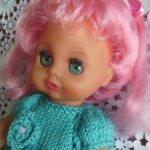 Бигги пухлик прямоножка цветные волосы кукла ГДР