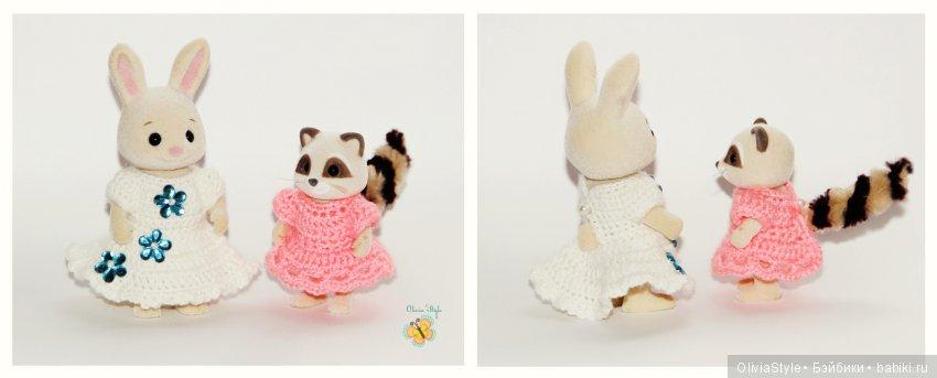 """Белое с удлиненным """"хвостиком"""" платье для зверюшки ростом 8 см и нежное розовое платье для малышки 6 см :)"""