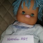 Кукла с голубыми волосами