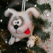 Ёлочная игрушка собака Шарик (он же Санта Шарикус), валяный из шерсти. Мастер-класс с видео