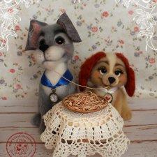 Леди и Бродяга валяные игрушки Елены Коноплёвой