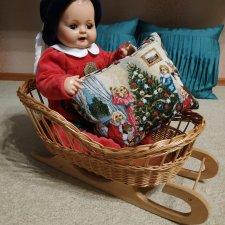 Плетеные сани и новогодняя думка, для кукол ростом до 50 см