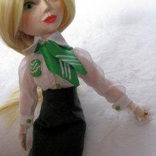 Мисс Сбербанк 2018, шарнирная  куколка в смешанной технике