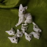 Бжд белый кот с 8 сменными мордочками и одной парой глазок в комплекте + видео