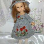 """Платье и шляпка для куколки Паола Рейна мини, мини Паола, Хелен Киш """"Маки"""""""