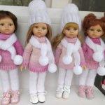 """Вязаный комплект """"розовые облака""""из 4 предметов для кукол Паола Рейна"""