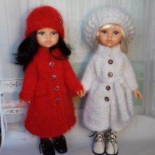Теплые мохеровые пальто и шапки