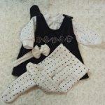 Велюровый сарафан на подкладке, повязочка, колготки, блузка для кукол 41-47 см