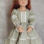 Платье льняное для куклы Готц 50 см