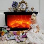 Малый камин с имитацией живого огня