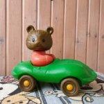 Пластмассовая игрушка медведь каталка СССР, Мишка