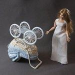 Голубая кукольная коляска для малыша 12 см, для Барби