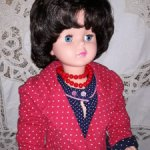 Платье и жакетик из хлопка в горошек для кукол 80-90 см.
