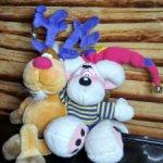 Редчайшая колоритнейшая парочка :мышь Diddle и олень Рудольф Красный Нос.