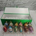 Стеклянные ёлочные игрушки Фаберже от Joan Rivers. 12 штук