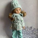 Мятно-горошковый костюмчик для куколок Паола Рейна