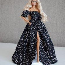 Длинное черное платье кукол Fashion Royalty