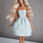 Мятно-золотое платье для кукол Fashion Royalty