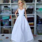 Белое длинное платье на бретелях для Барби и Барби Пышки