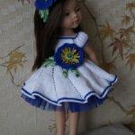 Нарядное платье с Синим Маком, туфельки и ободочек для кукол Paola Reina и им подобных.