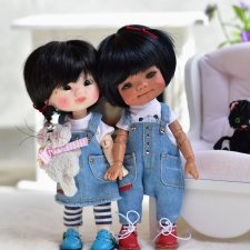 Джинсовые комбензоны и сарафаны на кукол 16 см
