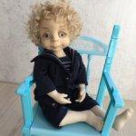 Авторская кукла в винтажном стиле мальчик — морячок Ванечка.