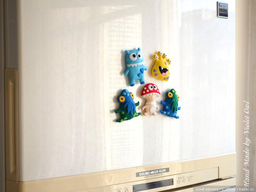 Монстрики из фетра. Магнитики на холодильник.