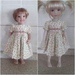 Платье с буффами и вышивкой для куколок Руби Ред 32 см. и схожих по параметрам.
