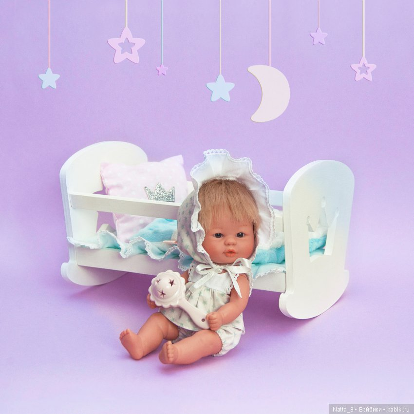 Кроватка-качалка для куколок 20 см. Подходит для пупсиков Аси.