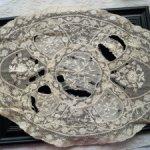 Антикварная салфетка из хлопкового кружева и ручной вышивки