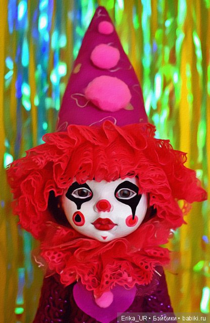 Карла, hybrid-girl-doll, my-OOAK-clown-harlequin, head-by-Paola-Reina, body-made-in-China