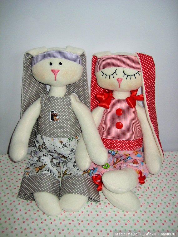 Зайка мальчик и зайка девочка для малышей, игрушка сплюшка