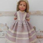 Льняное платье для кукол Готц