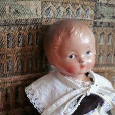 Советская ранняя прессопилочная куколка 30 см в сапожках