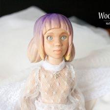 Деревянная интерьерная кукла Ария, с резными волосами